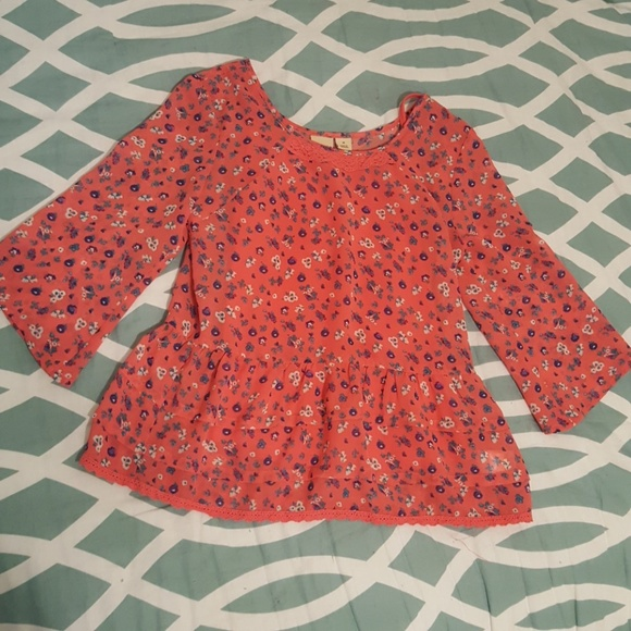 Mudd Other - Girls Size 10 coral sheer 1/4 sleeve blouse